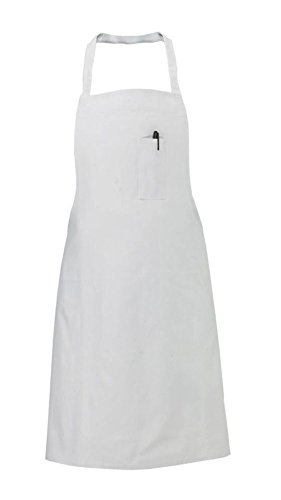 60 White Restaurant Kitchen Bib Apron with Pen Pocket P/c Blend Aprons by ITC