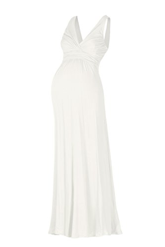 Beachcoco Women's Maternity Sleeveless V Neck Maxi Dress (XL, White)