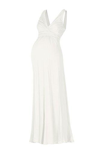Beachcoco Women's Maternity Sleeveless V Neck Maxi Dress (XL, White) ()