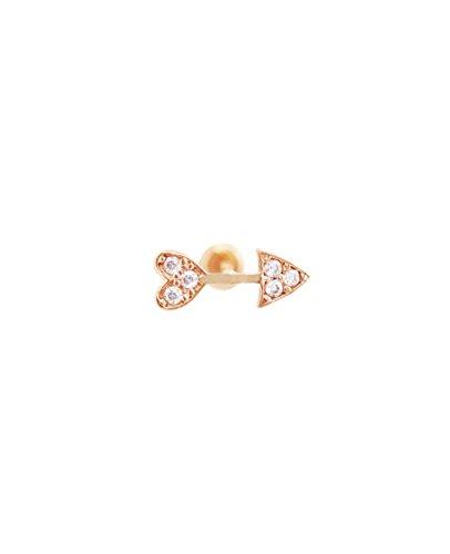 14K Solid Gold Dainty Cupid Arrow Heart CZ Stone Stud Single Piercing | Minimalist Jewelry for Women - Rose Gold ()