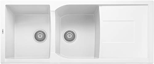"ALFI brand AB4620DI-W White 46"" Double Bowl Granite Composite Kitchen Sink with Drainboard"