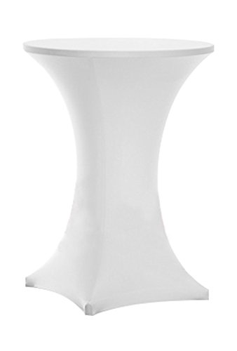 "Tina 32x43"" Cocktail Spandex Stretch Square Corners Tablecloth White"