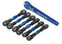 Traxxas TRA8341X Turnbuckles, aluminum (blue-anodized), camber links, 32mm (front) (2)/ camber links, 28mm (rear) (2)/ t