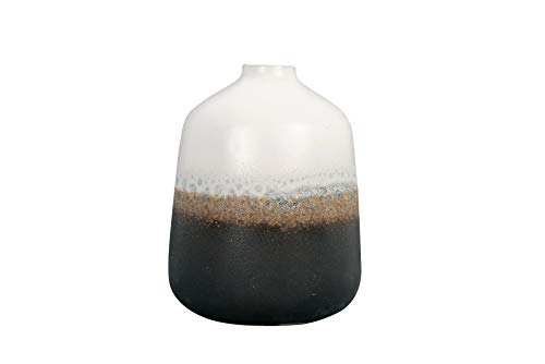 Bloomingville Ceramic Vase with Reactive Glaze Accent, Medium, Black & White