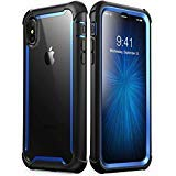 iPhone Xs Max Case, i-Blason [Ares] Full-Body Rugged Clear Bumper Case with Built-in Screen Protector for iPhone Xs Max 6.5 Inch (2018 Release)(Blue) -