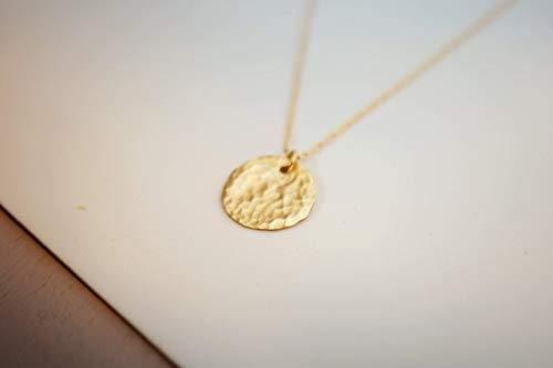 Gold Filled Layered Disc Necklace, Simple Delicate Everyday Minimalist Jewelry, Artisan Handmade Design, 16.5