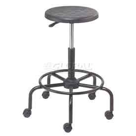 Polyurethane Scooter Stool with Steel Base Black by Global Industrial