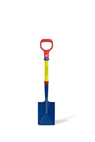 TOLO Kinder-Schaufel / Farbe: blau/gelb/rot/grün / Stahlrohrrahmen + Metallkopf / Höhe: 72 cm / Alter: ab 3 Jahre
