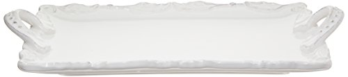 American Atelier Bianca Wave Rectangle Platter with Handles, White