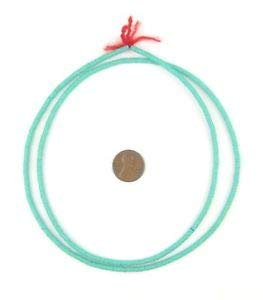 Turquoise Vinyl Phono Record Beads 3mm Ghana African Green Disk 28 Inch Strand Crafting Key Chain Bracelet Necklace Jewelry Accessories Pendants ()