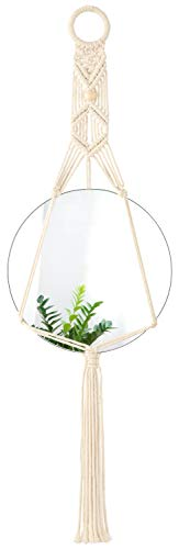 Mkono Hanging Wall Mirror Decorative Round Mirror with Macrame Hanger for Apartment Living Room Bedroom Entryways Boho Home Decor