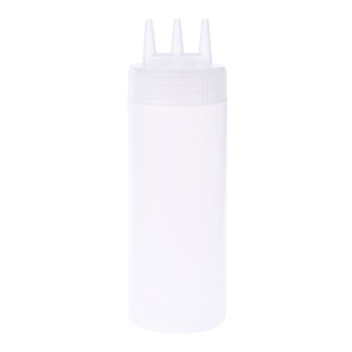 Milue 3 Hole Squeeze Bottle Condiment Dispenser Sauce Vinegar Oil Ketchup Cruet Bin (White)