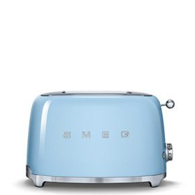 Smeg TSF01PBUS 2 Slice Toaster with 6 Browning Levels, Stainless Steel Ball Lever Knob, Backlit Chrome Knob, Self-Centering Racks and Automatic Slice Pop Up in Pastel Blue For Sale