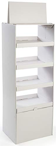 Displays2go Double-Sided Cardboard Display, Floor Standing, 4 Shelves White (04SH65WT)