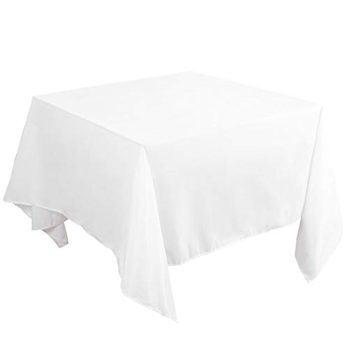 uxcell Square Tablecloth Washable Polyester Waterproof Table Cover Solid Table Cloths for Wedding Restaurant Party Picnic Indoor Outdoor Table, White 71 x 71 Inch(LW)