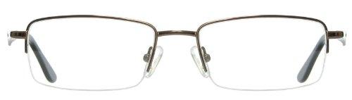 Half Rim Metal Rectangular Reading Eyeglasses Frame - Prescription Ready (Brown)