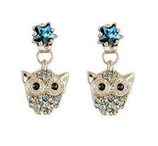 - Sisfrog Blue Crystal Rhinestone Rose Gold Plated Owl Stud Earrings Charm Jewelry for Women Teen and Girls