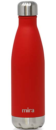 Small Thermal Metal Brush - MIRA 17 oz Stainless Steel Vacuum Insulated Water Bottle | Leak-Proof Double Walled Cola Shape Bottle | Keeps Drinks Cold for 24 Hours & Hot for 12 Hours | Matte Red