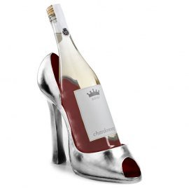 Silver High Heel with Red Inlay Wine Caddy
