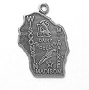 Sterling Silver Wisconsin State Charm with Split Ring