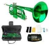 Merano B Flat GREEN / Silver Trumpet with Case+Mouth Piece+Valve Oil+Metro Tuner by Merano
