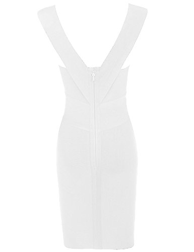 Whoinshop Women Rayon V-Neck Cross Front Bodycon Club Night Out Bandage Dress