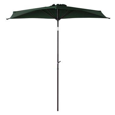 ハーフガーデンパラソル 高さ255cm 半円 簡単 開閉 角度調整 ガーデン テラス 庭 プールサイド ビーチサイド オーニング シェード デッキ (グリーン) B01LXJA0YI グリーン グリーン