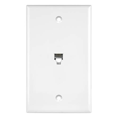ENERLITES RJ11 Telephone Jack Wall Plate by 1-Gang, Standard Size, White, 6-Position 6-Conductor, Single Port 2-Line Support, 6631-W, White