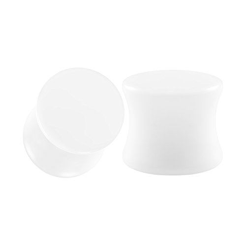 hite Acrylic 00g Gauge 10mm Double Flare Piercing Jewelry Earring Plugs Stretcher BG0438 ()