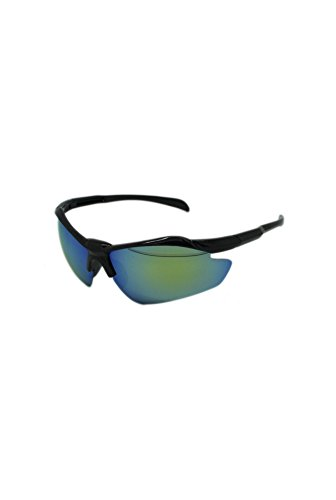 Finecy Lens taille Frame Mirrored de Green unique soleil Homme In Black Lunettes with Urq7UB