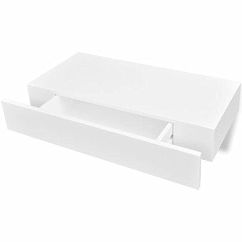 vidaXL Estanteria suspendida de Tablero MDF Blanco con un cajon para Libros/DVDs