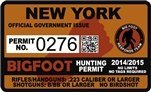"New York Bigfoot Hunting Permit 2.4"" x 4"" Decal Sticker"