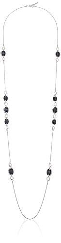 Nine West Women's Silver-Tone and Jet 42'' Strand Necklace, Size 0 by Nine West