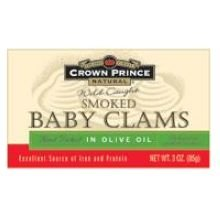 Crown Prince Smoked Baby Clam in Olive Oil, 3 Ounce - 12 per case.