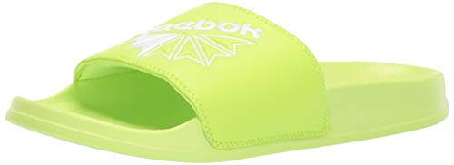 Reebok unisex-adult  Classic Slide Slipper, neon Lime/White/Diagonal STARCREST, 11 M US