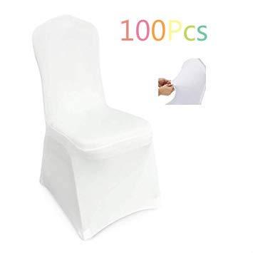 Femor Housse De Chaise 100 Pièces Couverture Blanc Universelle Extensible Très Facile à Nettoyer Et Durable Pour Hôtel Décor De Restaurant
