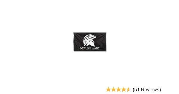 "Black /& White Spartan Helmet Flag Rothco /""Molon Labe/"" 3/' x 5/' Military Flag"