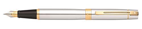 (Sheaffer 300 Chrome Fountain Pen with Gold Tone Trim and Fine Nib)