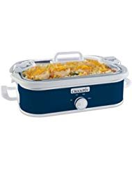 Cook And Carry Locking Lid System Casserole Crock 3.5-Quart Slow Cooker, Navy Blue (Crock Pot Casserole Slow Cooker)