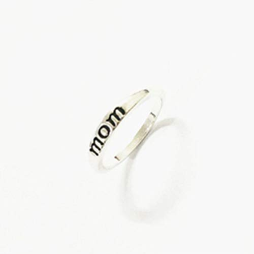 Myhouse Silver Color Ring Mom Family Band Rings Mother Engraved Ring Gift Jewelry, 10