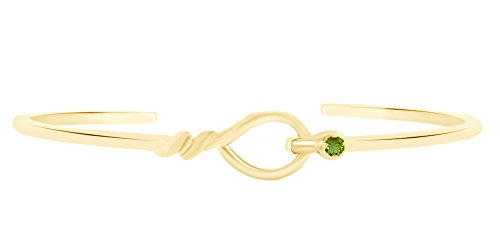 AFFY Round Shape Simulated Peridot Loop Cuff Bracelet In 14k Yellow Gold Over Sterling Silver-8.5