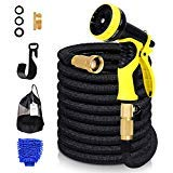 Expandable 50ft Garden Hose, 100% Latex Core Expanding Water Hose with Solid Brass Connectors, 9 Functions Spray Nozzle for Home, Garden, Car Washing & Heavy Duty (50 FT) ()