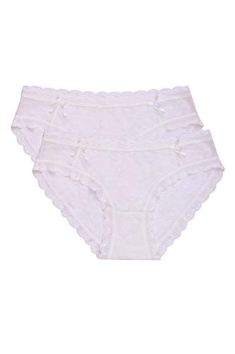 Women's Premium Half Coverage Floral Mesh Lace Bikini Briefs Panty Underwear (2 Pack) (X-Large, White) ()