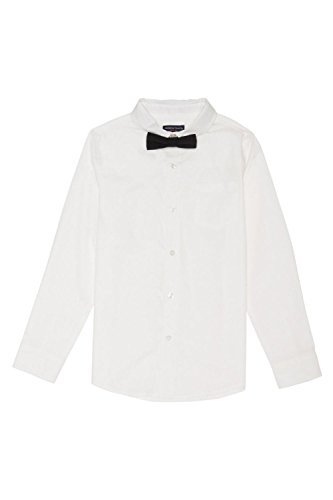 French Toast Big Boys' Long Sleeve Dress Shirt With Bow Tie, White, 10