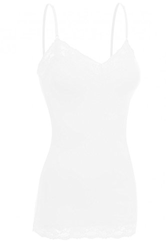 Detail Lace Trim (ViiViiKay Women's Basic Spaghetti Strap Lace Trim Cami Tank Top Junior to Plus WHITE M)