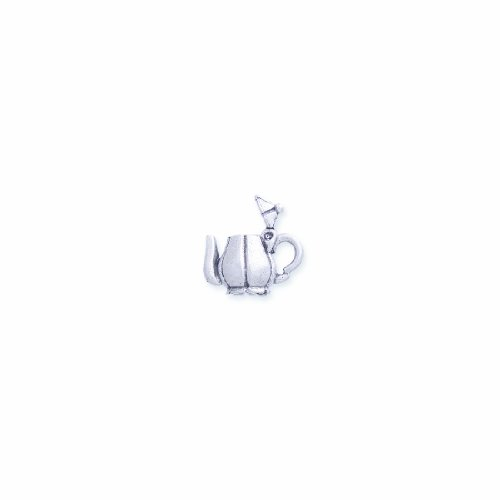 Shipwreck Beads Pewter Hinged Teapot Charm, Silver, 15 by 18mm, 2-Piece