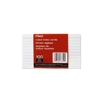 Mead 3 x 5-Inch Index Cards, Ruled, 100 Count, White (63350) Pack Of 6