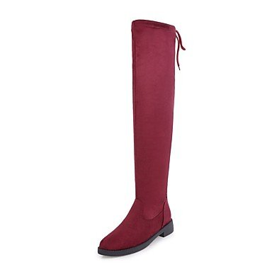 RTRY Women's Shoes Leatherette Fall Winter Comfort Boots Chunky Heel Round Toe Knee High Boots Lace-up For Party & Evening Dress Red Gray Black US5.5 / EU36 / UK3.5 / CN35 smAPwloO