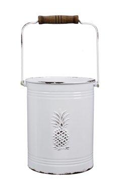 Heart of America White Enamel Finish Pineapple Bucket
