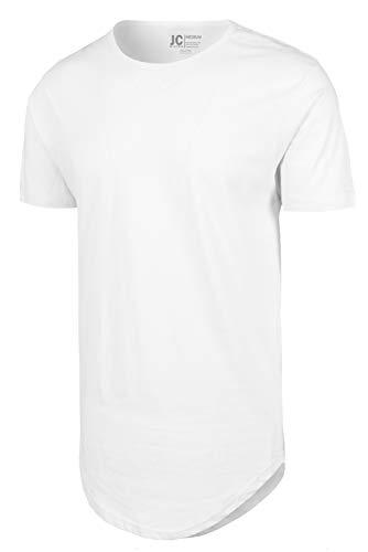- White Drop Cut Curved Hem Scallop Extra Long Longline T-Shirt XS